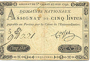 Assignat de 5 Livres - 27 juin 1792 | Rhit Genealogie | Scoop.it