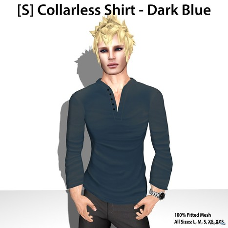 [S] Collarless Shirt Dark Blue Teleport Hub's Group Gift by [satus Inc] | Teleport Hub - Second Life Freebies | Second Life Freebies | Scoop.it