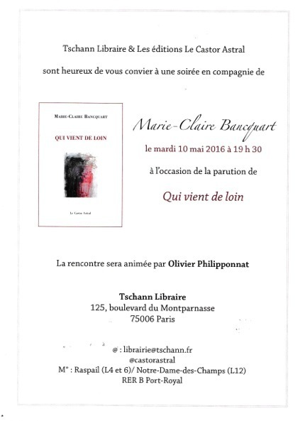 Mardi 10 mai 2016 :: lecture-rencontre avec Marie-Claire Bancquart (Tschann Libraire, Paris) | TdF  |   Poésie contemporaine | Scoop.it