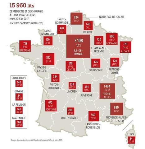 Hôpital: la carte de France des suppressions de lits | Actu'santé | Scoop.it