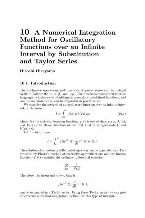 A Numerical Integration Method for Oscillatory Functions over an Infinite Interval by Substitution and Taylor Series - Springer | Análisis de Variable Compleja | Scoop.it