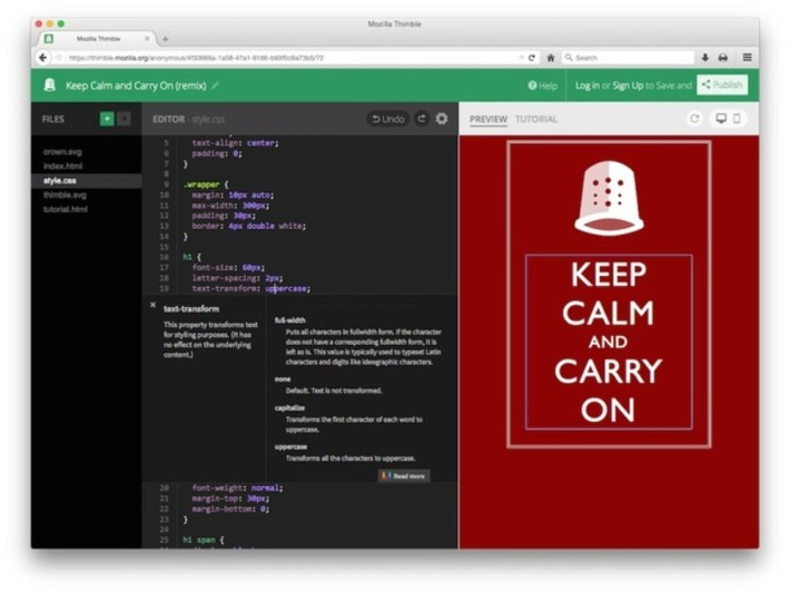 Mozilla Relaunches Its Thimble Online Code Editor For Teaching HTML, CSS And JavaScript | Machinimania | Scoop.it