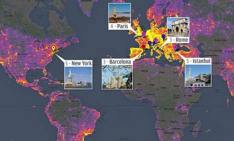Google 'heatmap' reveals New York, Rome and Barcelona as the most photographed places on Earth | Tourism : Network Analysis | Scoop.it