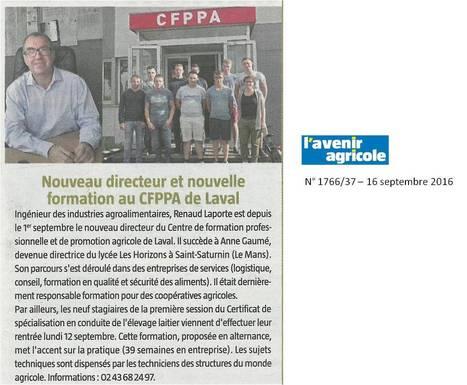 Renaud Laporte : nouveau directeur du CFPPA | Le lycée agricole de Laval | Scoop.it