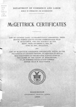 McGettrick Certificates | Chinese American history | Scoop.it
