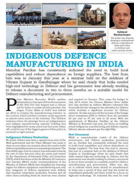 Indigenous Defence Manufacturing In India by Subimal Bhattacharjee | Defence News Magazine in India-DSA | Scoop.it