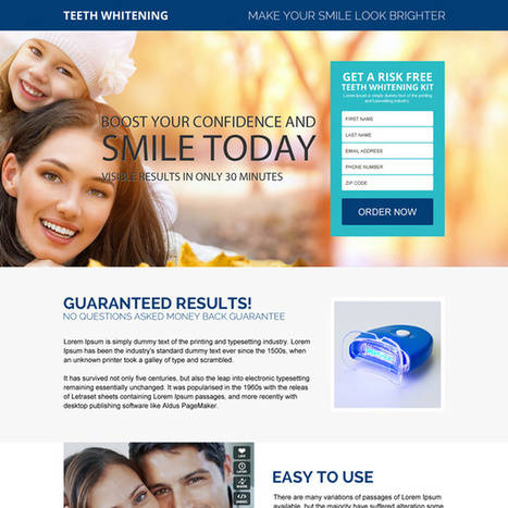 appealing teeth whitening product trial lead generating landing page | buy landing page design | Scoop.it