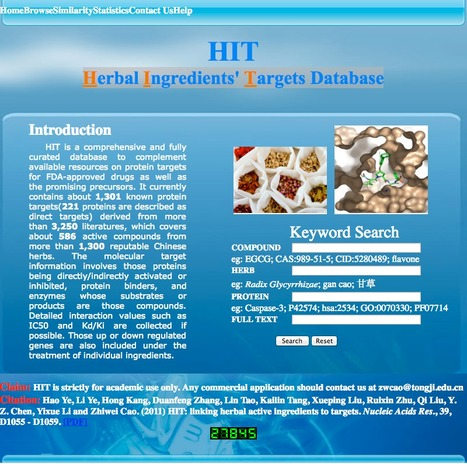 HIT  - a Herbal Ingredients' Targets Database | bioinformatics-databases | Scoop.it