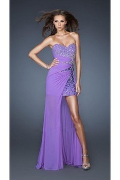 Sexy High-Low Beaded Strapless Sweetheart Chiffon Prom Dress | dresses | Scoop.it