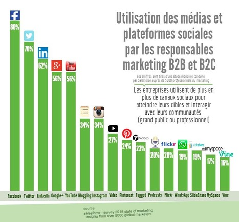 Taux d'utilisation des médias et plateformes sociales par les Entreprises #B2B & #B2C ! #socialmedia | Réseau des offices de tourisme des Pyrénées-Orientales | Scoop.it