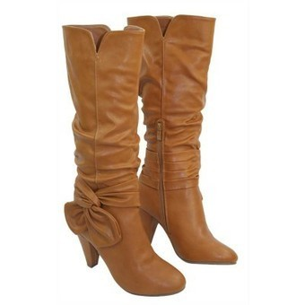 Ladies Luxury Designer PU Leather Boots Tan Brown | Womens Clothing | Scoop.it