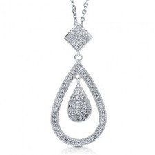 BERRICLE - Sterling Silver 925 Micro Pave Cubic Zirconia CZ Pear Pendant Necklac | Berricle Necklaces | Scoop.it