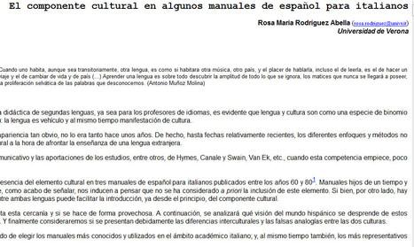 Rosa María Rodríguez Abella:El componente cultural en algunos manuales de español para italianos - Culturele | Ejercicios de Español | Scoop.it