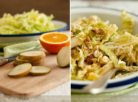 Salade au chou frisé, poires et noix et vinaigrette à l'orange...   Voyages et Gastronomie depuis la Bretagne vers d'autres terroirs   Scoop.it