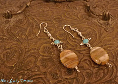 Turquoise, Persian Agate and Sterling Silver Earrings | Ann's Jewelry Collection | Scoop.it