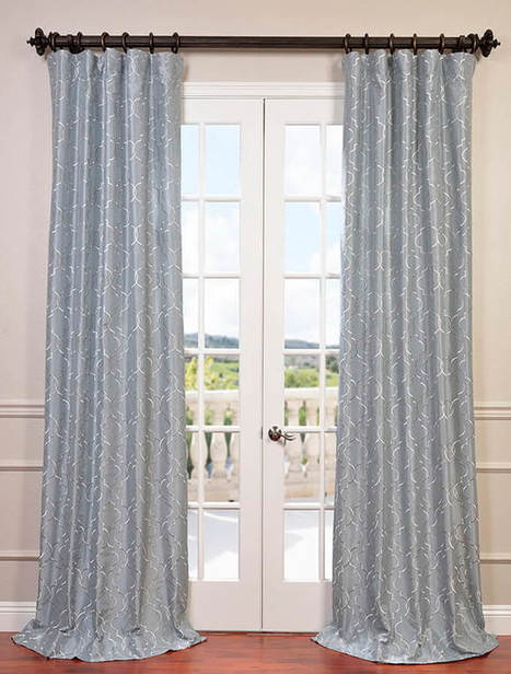 Algeirs Silver Embroidered Faux Silk Curtain | window curtains | Scoop.it
