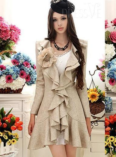 High Quality Gorgeous Beige Double Falbala Hem Slim Warm Woolen Overcoat | fashion clothes | Scoop.it