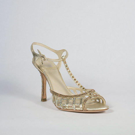 Christian Dior Hand Strass Crystal Whisper Salome Gold Sandals | Wedding shoes | Scoop.it