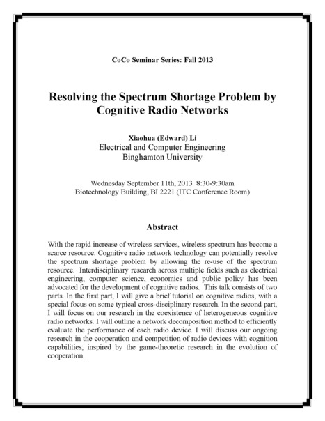 First CoCo Seminar: Resolving the Spectrum Shortage Problem by Cognitive Radio Networks | Center for Collective Dynamics of Complex Systems (CoCo) | Scoop.it