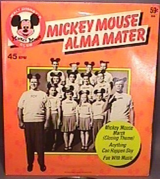 """vintage rare collectible Mickey Mouse Alma Mater 7"""" 45 RPM Record #656 in dust cover great condition 