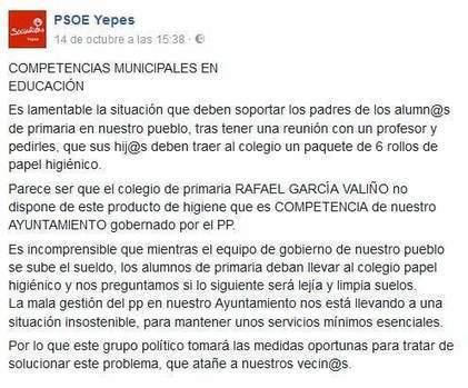 Un colegio toledano exige a los padres seis rollos de papel higiénico por falta de fondos - 20minutos.es | @Futbol Baseymas | Scoop.it