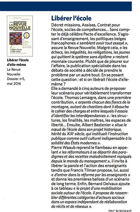 """""""Libérer l'école d'elle-même"""" - recension par Le Soir du 5 octobre   Dernières productions   Scoop.it"""