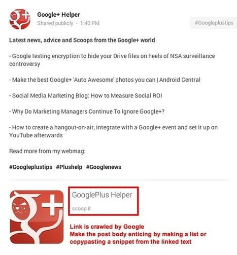 GooglePlus Helper: Link dumping is not recommended on Google+ | GooglePlus Expertise | Scoop.it