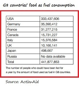 ActionAid: Food Used to Fuel Cars in G8 Nations Would Feed 441 ... | Education for Sustainable Development | Scoop.it