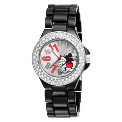 (1)  MK2075 Disney Womens MK2075 Mickey Mouse Silver Dial Black Enamel Bracelet Watch Disney | Cheap Casual Watches Men | Scoop.it