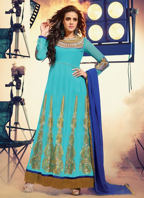 New Latest Tin Collection Georgette Sky Anarkali Suit | Women's Fashion & Jewellery Shopping | Scoop.it
