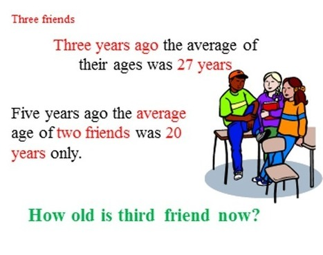 the average age of three friends   THE MORE YOU PRACTICE MATHS, THE MORE SURE YOU ARE!   Scoop.it