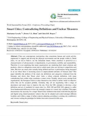 Smart Cities: Contradicting Definitions and Unclear Measures by M Cavada, C Rogers, D Hunt - Liveable Cities | The Programmable City | Scoop.it