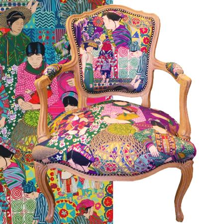 Seconde vie pour un fauteuil louis xv d eacut for Tissus d ameublement fauteuil