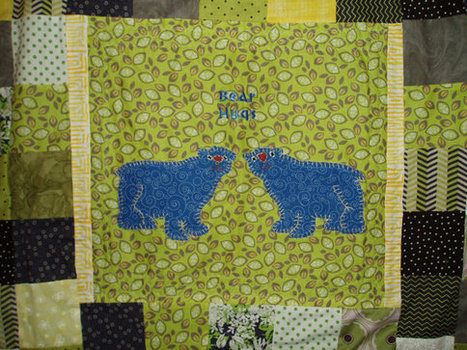 "Gorgeous Original ""Bear Hugs"" Memory Baby Quilt lime green, navy, yellow, white, gray Hand Embroidered Heirloom Rag Quilt 