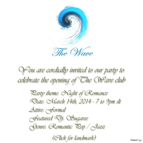 Invitation to The Wave Club's First Party - Grand Opening | Second Life Freebies | Scoop.it