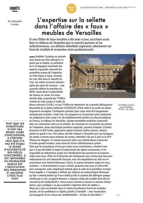 L&rsquo;expertise sur la sellette<br/>dans l&rsquo;affaire des &laquo; faux &raquo;<br/>meubles de Versailles / Le Quotidien de l'art | &quot;L'Expert-Marchand&quot; | Scoop.it