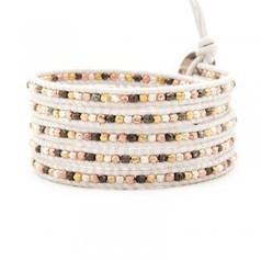 Chan Luu Bracelets Mixed Nugget Wrap Bracelet on White Leather | Bracelet | Scoop.it