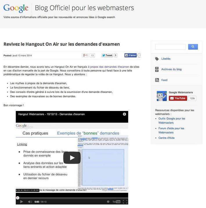 Google lance un blog pour webmasters en français | TIC et TICE mais... en français | Scoop.it