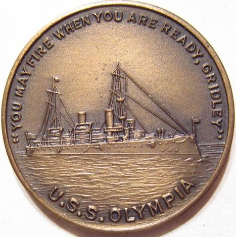 1898 U.S.S. OLYMPIA DEWEY'S BATTLESHIP Medal MADE FROM ACTUAL SHIPS PROPELLER ! | Coins Tokens & Medals | Scoop.it