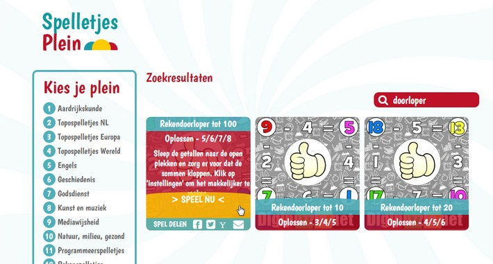 Nieuw op Spelletjesplein.nl: Rekendoorlopers | Educatief Internet - Gespot op 't Web | Scoop.it