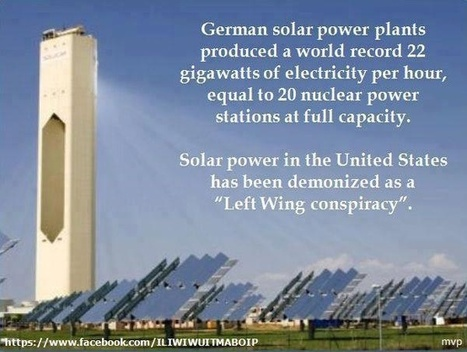 "German a world record 22 GW of solar electricity...US Solar power has been demonized as ""left wing conspiracy"" 