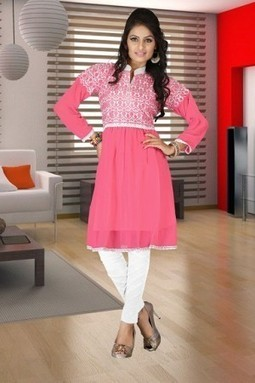 Get Light Pink Georgette Embroidered Kurti for Rs.850 only at giftadi | Gifting Zone | Scoop.it