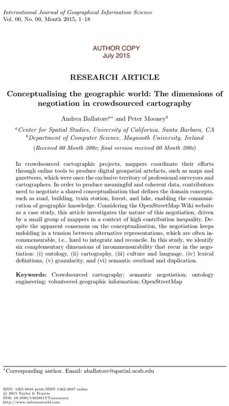 Conceptualising the geographic world: The dimensions of negotiation in crowdsourced cartography | Everything is related to everything else | Scoop.it