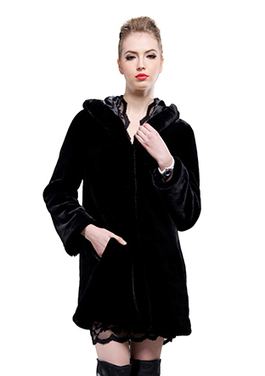 Faux black mink cashmere middle fur coat | Comfortable faux fur coat fashion | Scoop.it