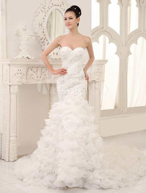 White Mermaid Sweetheart Neck Ruffles Chapel Train Wedding Dress For Bride | wedding and event | Scoop.it