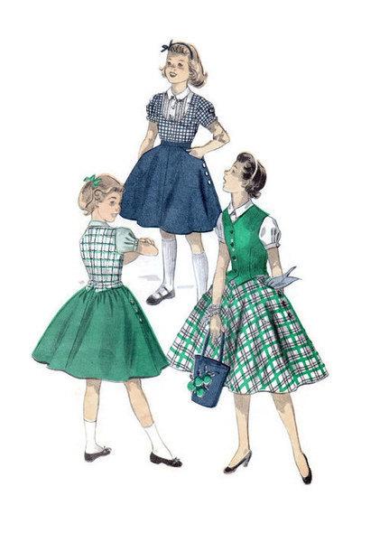 1950s Sewing Pattern Advance 7742 School Girl Dress Full Skirt Vest Weskit Blouse Bust 33 Rockabilly Style | Vintage Sewing Patterns | Scoop.it