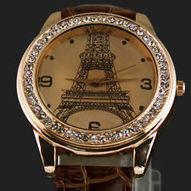 Fashion Brown Eiffel Tower Diamond Men's Girls Women's Gift Quartz Wrist Watches | women's fashion watches | Scoop.it