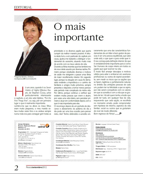 Editorial Margarida Barreto - Presidente APG e DRH da MSD em Set 12 | Cegoc Training | Scoop.it