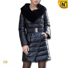 Black Long Leather Down Coat CW610029 - cwmalls.com | Fur Trimmed Coats | Scoop.it