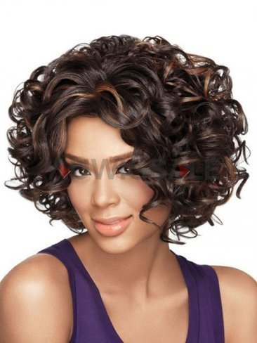 Cheap 12 Lace Front Mid-Length Curly Brunette Synthetic Wigs With Side Bangs | Cheap Wigs Online Shopping at Auwigsale.com | Scoop.it